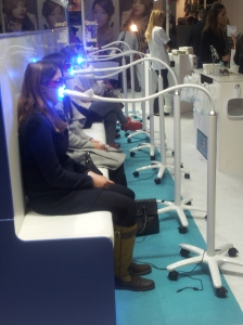 Meg White's teeth glowing service at the Ideal Home Show.