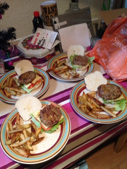 The finished burgers and chips (Pic courtesy of Si winter)