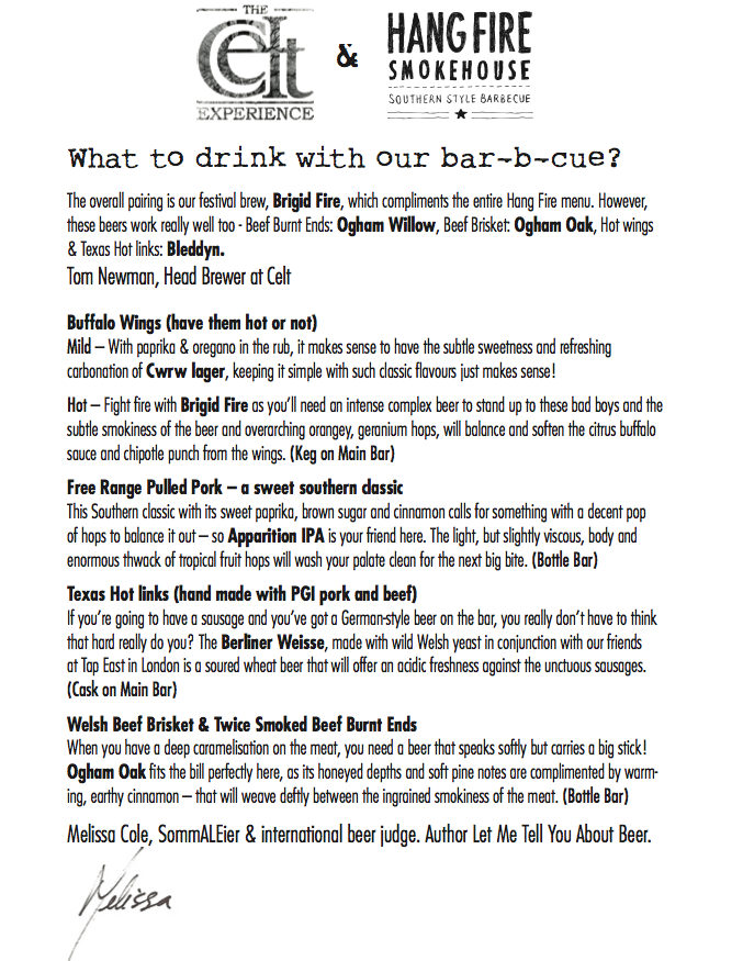 Beer and barbecue pairings (Pic courtesy of Hang Fire Smokehouse)