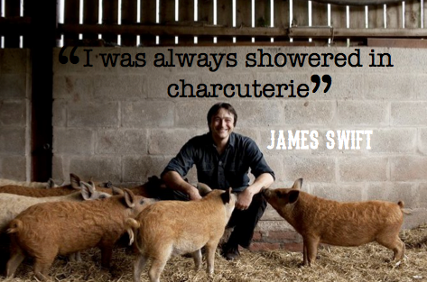 James and his pigs (Pic attributed to Trealy Farm and edited by Jordan Harris)