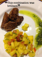 Chilli Springbok with a mango salsa and a lime and coriander pesto